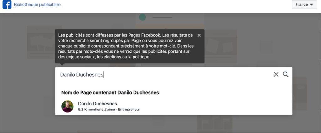 Capture d'écran - étape 1 - voir les publicités Facebook de Danilo Duchesnes