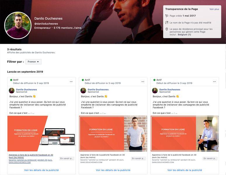 Capture d'écran - étape 2 - voir les publicités Facebook de Danilo Duchesnes