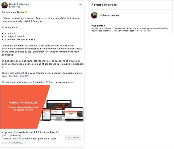 Capture d'écran - étape 3 - voir les publicités Facebook de Danilo Duchesnes