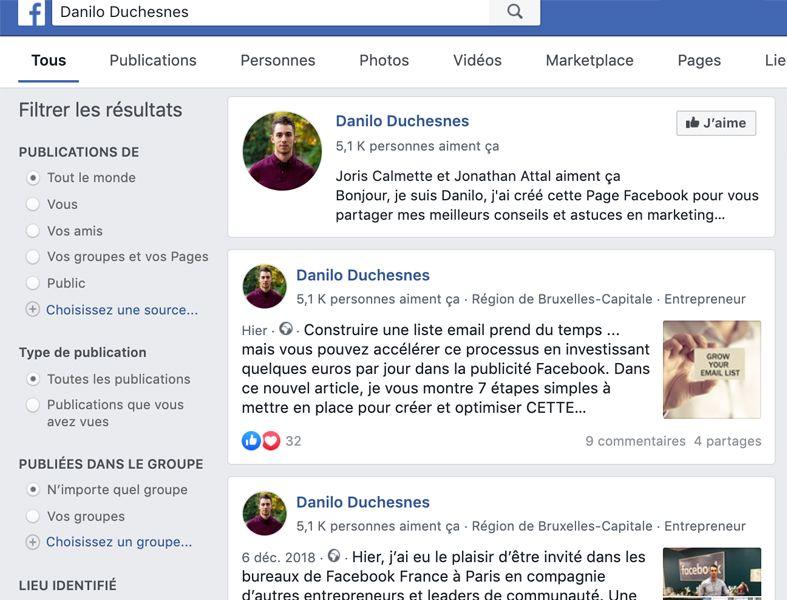 Capture d'écran - étape 1 - trouver l'ID de la page Facebook de Danilo Duchesnes