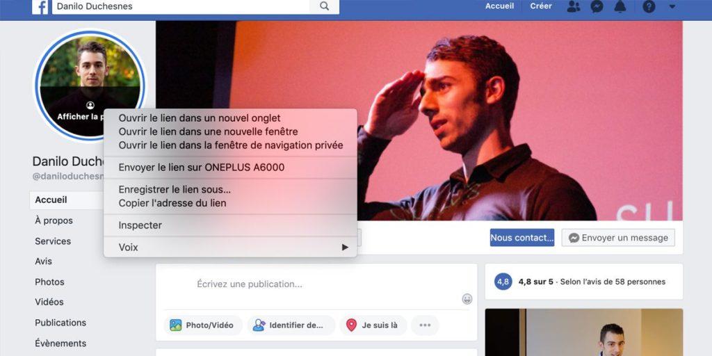 Capture d'écran - étape 2 - trouver l'ID de la page Facebook de Danilo Duchesnes