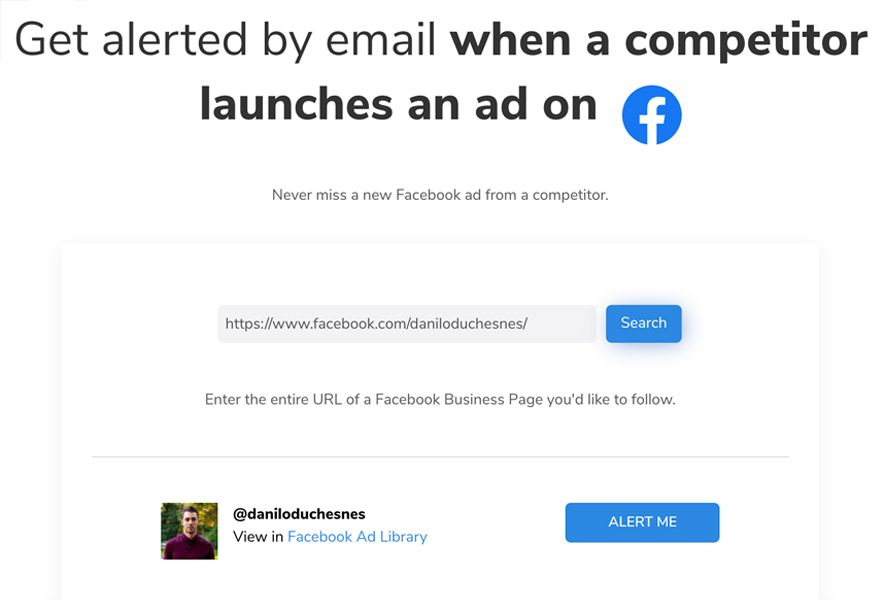 Capture d'écran : utilisation de l'outil AdInboxMe