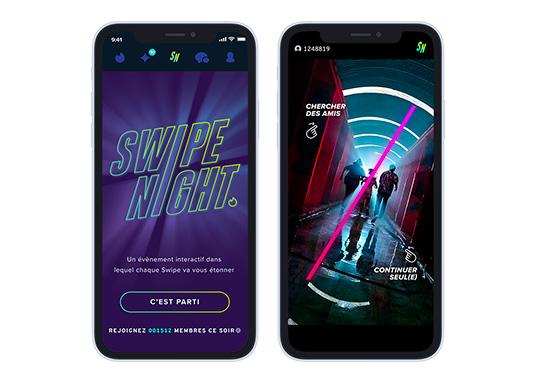 exemples de captures ecrans de la swipe night tinder